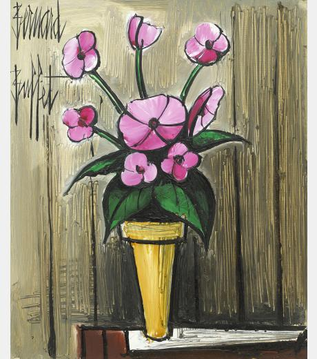 Bernard Buffet - Still Life of Pink Dahlias