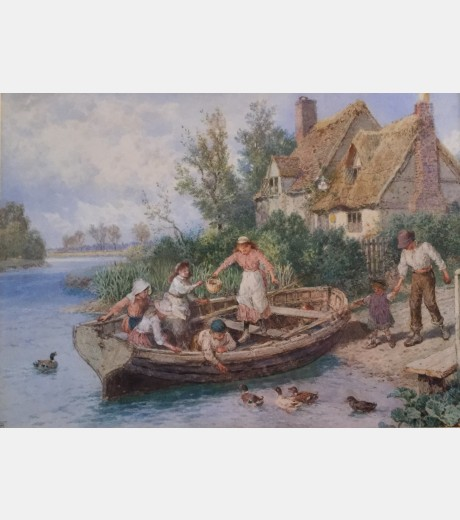 Birket Foster - Feeding the Ducks