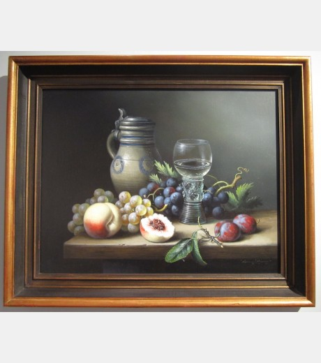 Brian Davies - Still Life with Plums and Wine