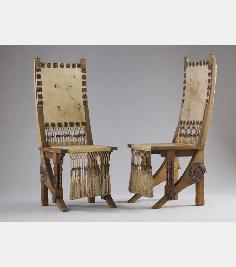 Carlo Bugatti - Pair of Walnut Hall Chairs
