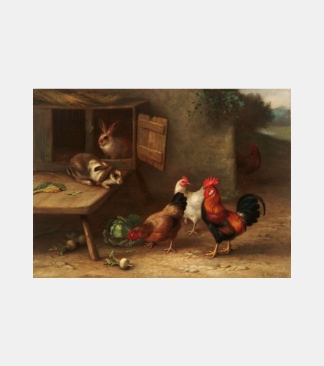 Edgar Hunt - Cockeral, Chickens and Rabbits