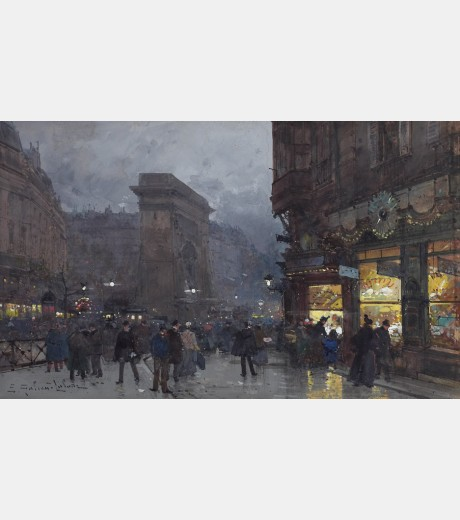 Eugene Galien-Laloue - la Porte Saint Denis Evening