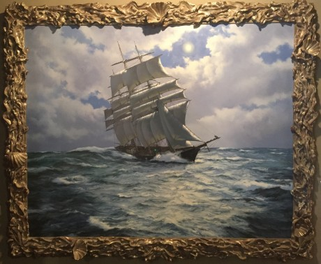 James Brereton - Silver Light - The clipper Candida by moonlight