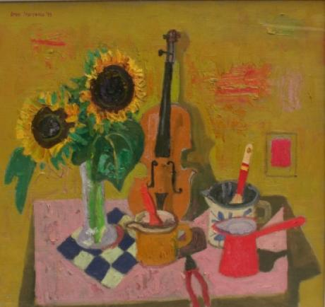 Leon Morrocco - Still Life with Sunflowers