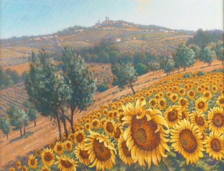 Lionel Aggett - Sunflowers, San Gimignano, Tuscany
