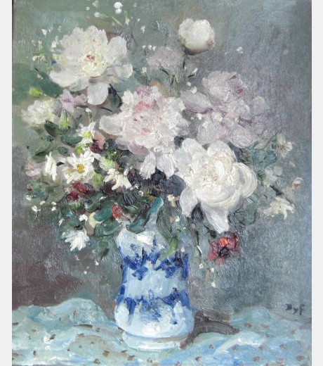 Marcel Dyf - White Roses, Poppies and Daisies