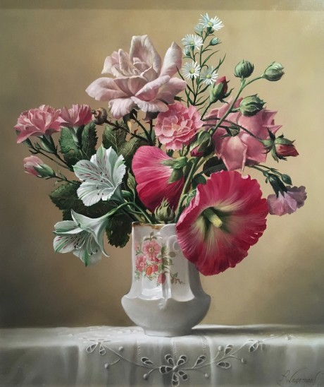 Pieter Wagemans - Roses & Hollyhocks