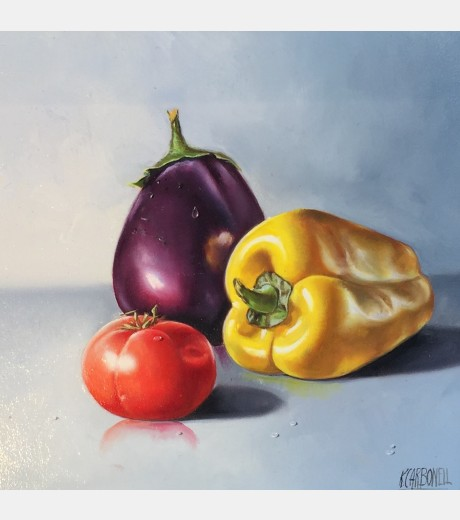 Raquel Carbonell - Still life with Pepper, Tomato and Aubergine