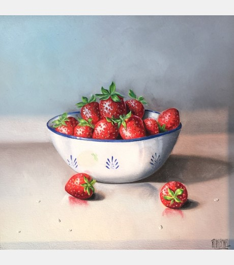 Raquel Carbonell - Still life with Strawberries in a bowl