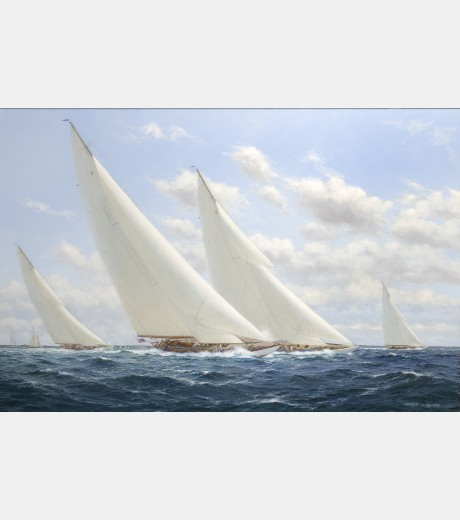 Stephen Renard - Whirlwind being passed by Enterprise to windward, with Yankees Weetamoe; America's Cup Selection 1930