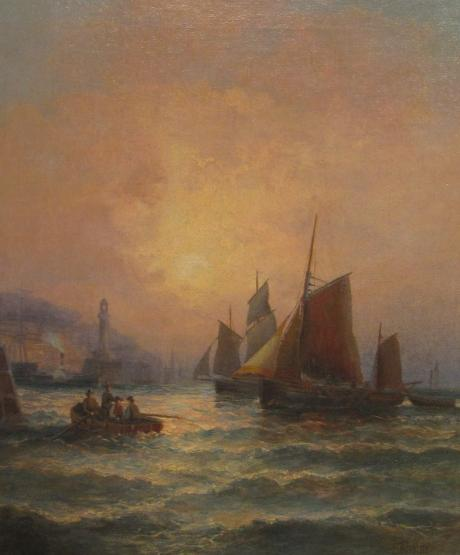 William Thornley - Sunrise, Fishing Boats Making for Harbour